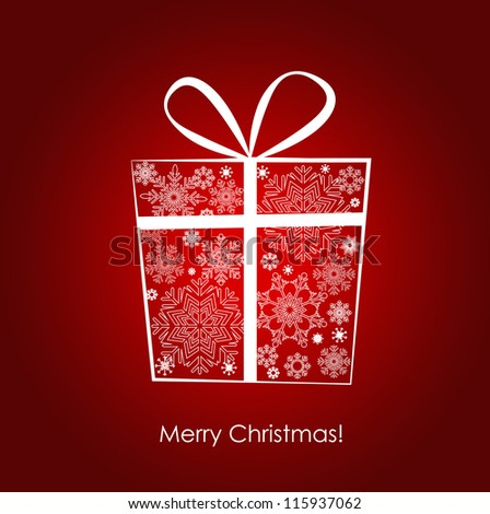 Christmas background with gift box, vector illustration. EPS10 - stock vector