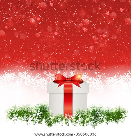 Christmas background with gift nestled in snow - stock vector