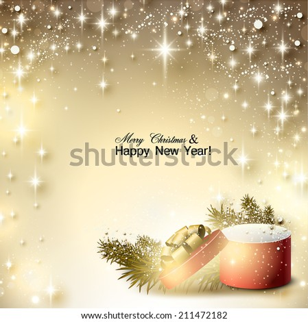 Christmas background with gift. Xmas box with bow and place for text.  Vector Illustration. - stock vector
