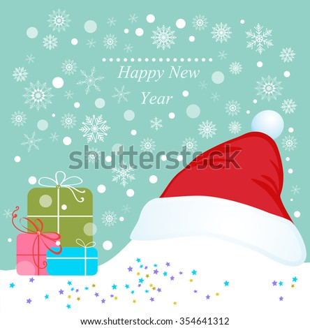 Christmas background with gifts and Santa Claus hat. - stock vector
