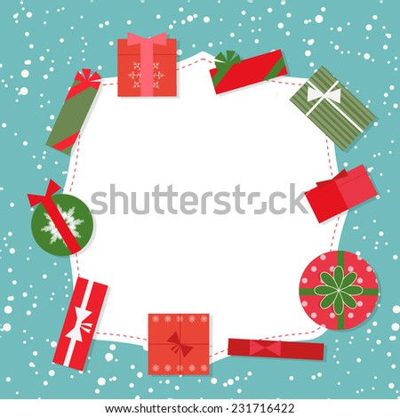 Christmas background with gifts set, vector illustration