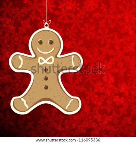 Christmas background with gingerbread man. - stock vector