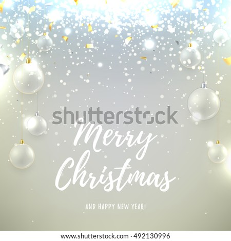 Christmas background with glass balls and snow. Elegant vector illustration for xmas design. Happy New Year background with silver and gold confetti and shining light.
