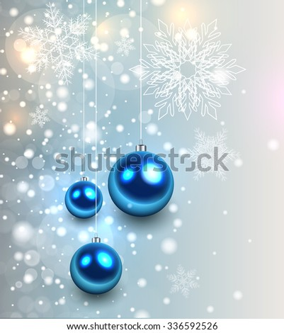 Christmas background with glossy balls and glittering lights, vector illustration. - stock vector