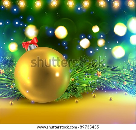 Christmas Background with Golden Ball, Xmas fir-tree branches