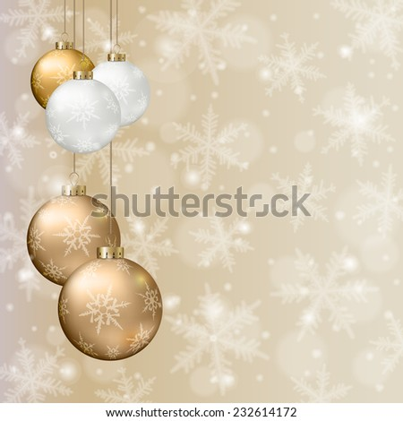 Christmas background with golden balls and snowflakes on light background. - stock vector