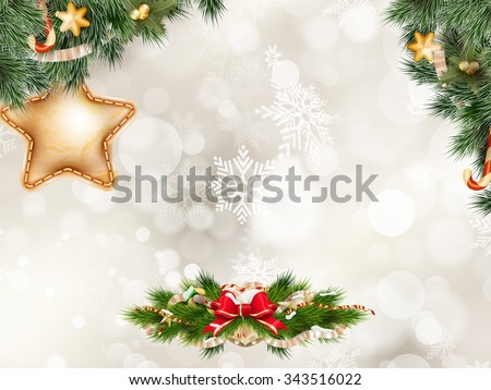 Christmas background with golden baubles. EPS 10 vector file included - stock vector