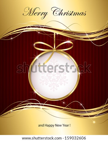 Christmas background with golden ribbon and bauble, illustration. - stock vector