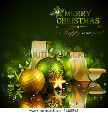Christmas background with green and golden balls. Vector illustration. - stock vector