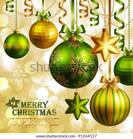 Christmas background with green and golden baubles. Vector illustration. - stock vector
