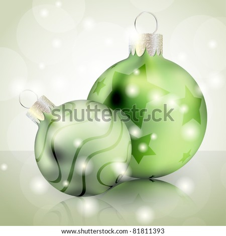Christmas background with green shiny balls - stock vector