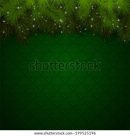 Christmas background with green wallpaper and sparkling spruce branches, illustration. - stock vector