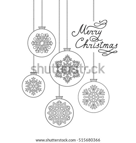 Christmas background with handwritten greeting lettering. Happy Winter Holiday Ball Doodle Decor Elements. Greeting card design.
