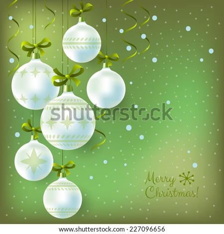 Christmas background with hanging decoration balls
