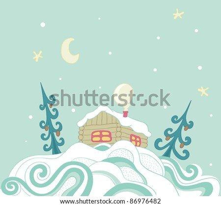 Christmas background with house in the snow