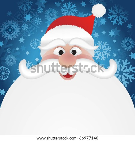 Christmas background with jolly Santas face - stock vector