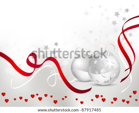 Christmas background with light silver grey to white backdrop gradient, shiny red ribbons and Christmas balls - stock vector