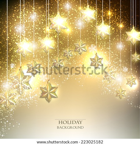 Christmas  background with luminous garland with stars. Vector illustration