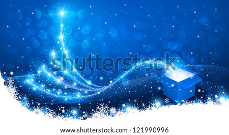 Christmas background with magic box and Christmas Tree - stock vector
