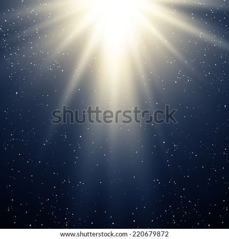 Christmas background with magic light - stock vector