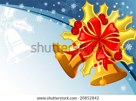 Christmas background with mistletoe, bell and snowflake, element for design, vector illustration