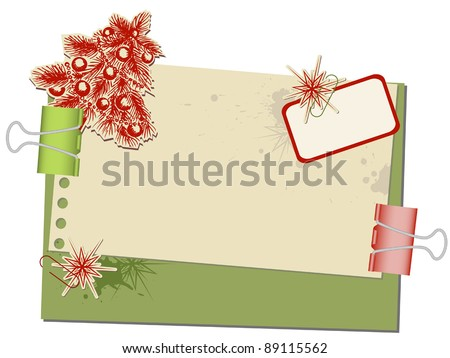 Christmas background with old spotted paper and paperclips