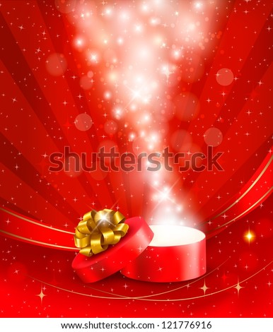 Christmas background with open gift box. Vector illustration. - stock vector