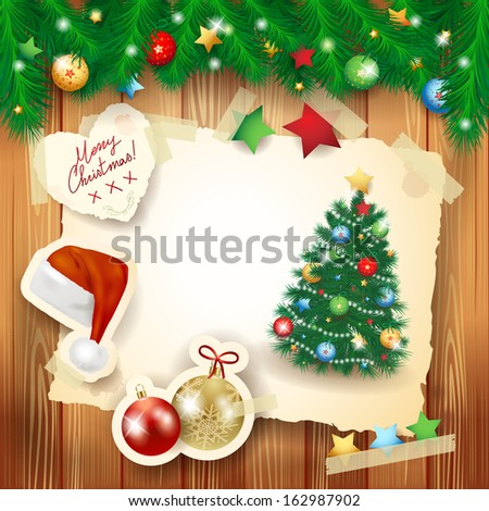 Christmas background with paper elements and fir, vector  - stock vector