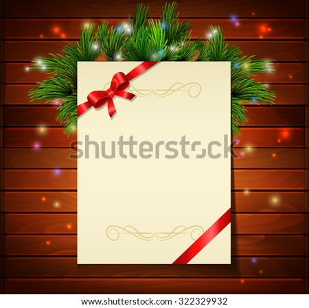 Christmas background with paper ribbon and lights on a wood wall - stock vector