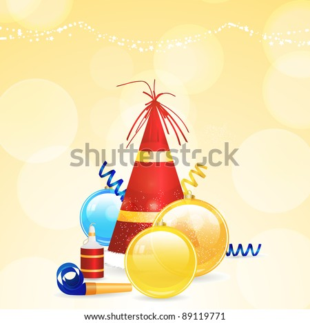 Christmas background with party hat, baubles and noise maker - stock vector