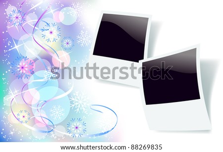 Christmas background with photo frame, serpentine and snowflakes - stock vector