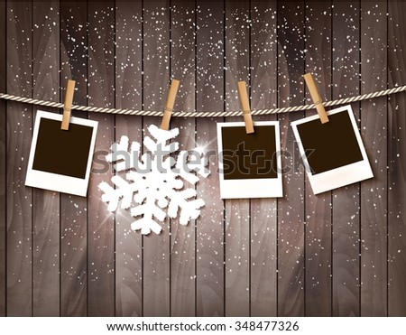 Christmas background with photos and a snowflake. Vector. - stock vector