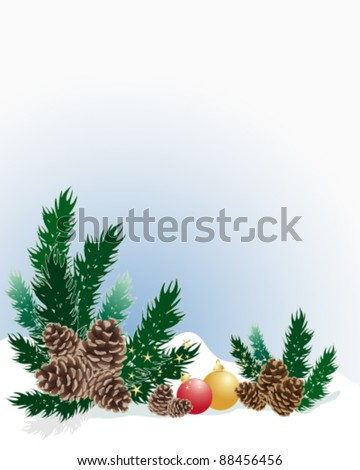 christmas background with pine cones fir twigs and christmas baubles on snow vector illustration in eps 10 format - stock vector