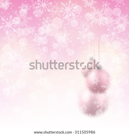 christmas background with pink blurred balls and abstract snowflakes, vector illustration, eps 10 with transparency and gradient meshes - stock vector