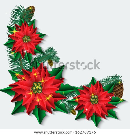 Christmas background with poinsettia flowers and fir branches. Vector illustration. - stock vector