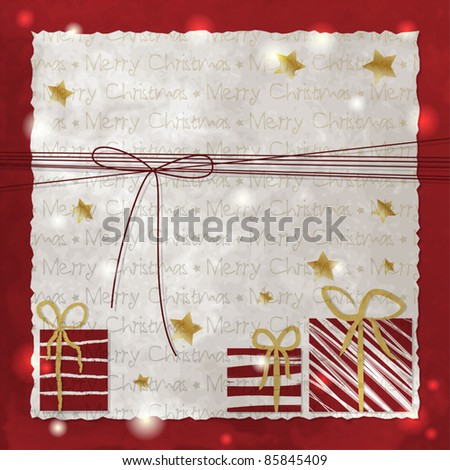 Christmas background with presents and bow - stock vector