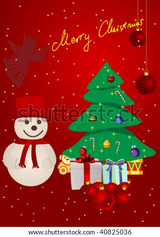 Christmas background with presents, Christmas tree and snowman