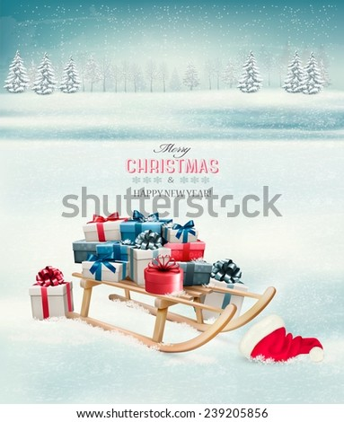 Christmas background with presents on a sleigh. Vector.  - stock vector