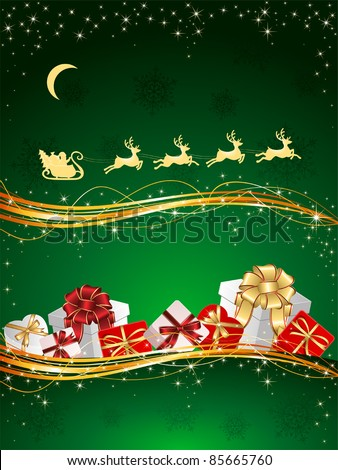 Christmas background with Presents, snowflakes and Santa's sleigh, illustration - stock vector