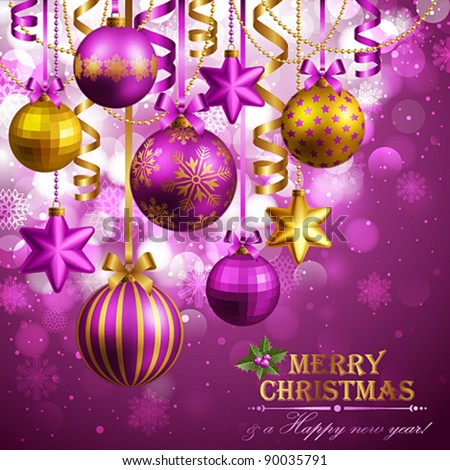 Christmas background with purple and golden baubles. Vector illustration. Check my portfolio for raster version. - stock vector