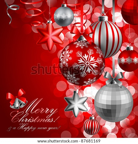Christmas background with red and silver baubles. Vector illustration.