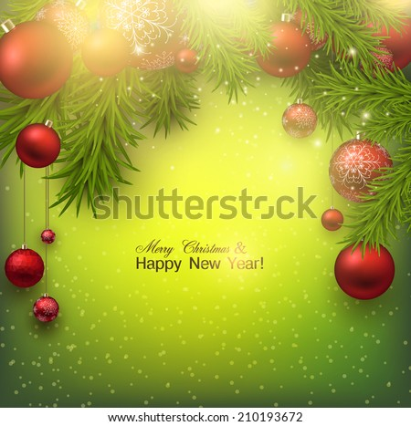 Christmas background with red balls and green branches. Red Xmas baubles. Vector - stock vector