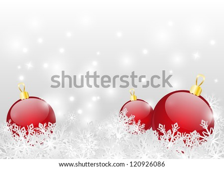 Christmas background with red balls and snowflakes - stock vector
