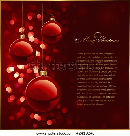 christmas background with red baubles against a glittering red background (no mesh or transparencies used) - stock vector
