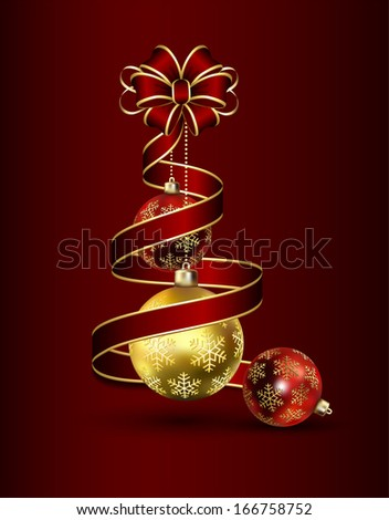 Christmas background with red bow and shiny balls, illustration.