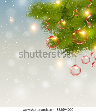 Christmas background with red decorations and green pine branch