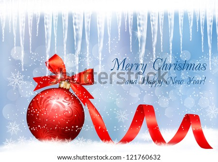 Christmas background with red gift ball and icicles. Vector illustration. - stock vector