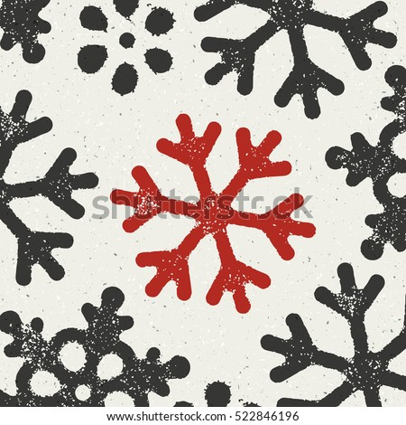 Christmas Background with red grungy snowflake symbol. Xmas Grunge Postcard. Design On white Textured Background. Not seamless