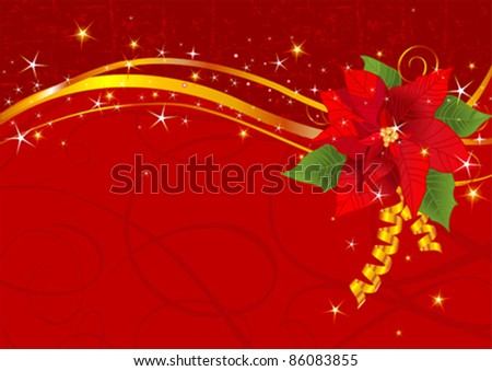 Christmas background with Red poinsettia