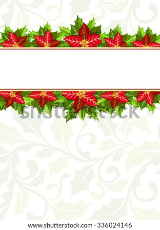 Christmas background with red poinsettia and holly leaves decoration elements. Vertical banner with  horizontal borders and copy space for your text - stock vector